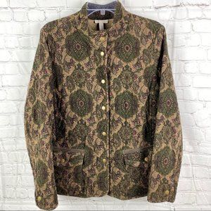 Corduroy Quilted Paisley Jacket Green Tan Sz L